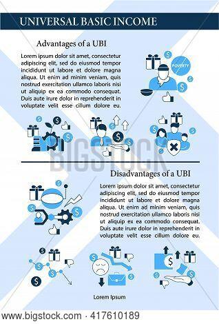 Universal Basic Income Brochure.ubi Advantages, Disadvantages.economic Growth Template. Flyer, Magaz