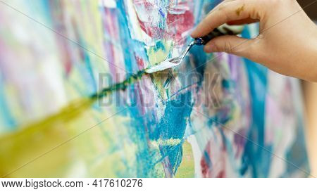 Abstract Painting. Art Process. Creative Artwork. Fine Art School Lesson. Inspiration Muse. Unrecogn