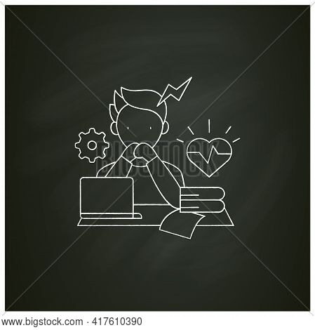 Stress Chalk Icon. Scared About Deadlines. Stressful Situation, Work. Anxiety. Procrastination Conce