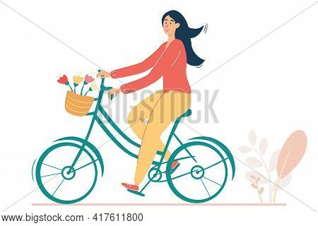 Happy Girl Riding Retro Bicycle With Flowers In The Basket. Vintage Illustration With A Romantic Moo