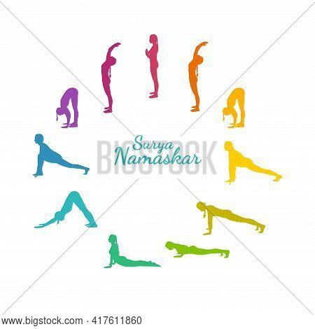 Yoga Surya Namaskar Sequence. Sun Salutating Woman, Morning Yoga Flow With All Steps. Rainbow Colore