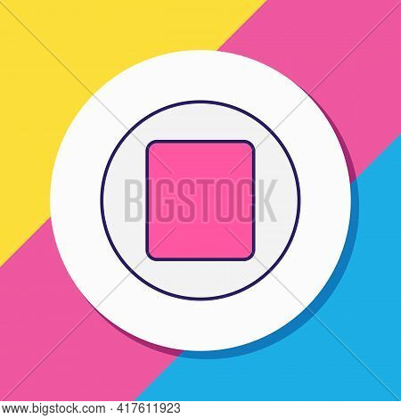Vector Illustration Of Stop Button Icon Colored Line. Beautiful Melody Element Also Can Be Used As P