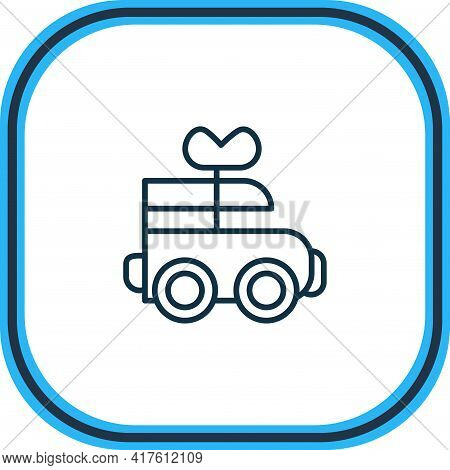 Vector Illustration Of Clockwork Car Icon Line. Beautiful Infant Element Also Can Be Used As Mechani