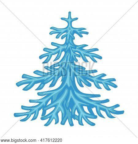 Cartoon Blue Snow Fir Tree Holiday Figurine
