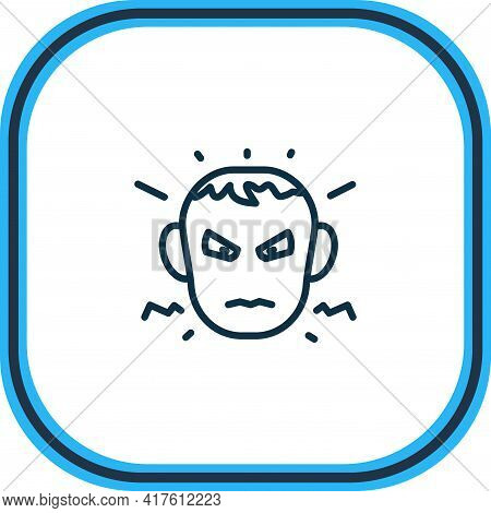 Vector Illustration Of Annoyed Icon Line. Beautiful Emoji Element Also Can Be Used As Anger Icon Ele