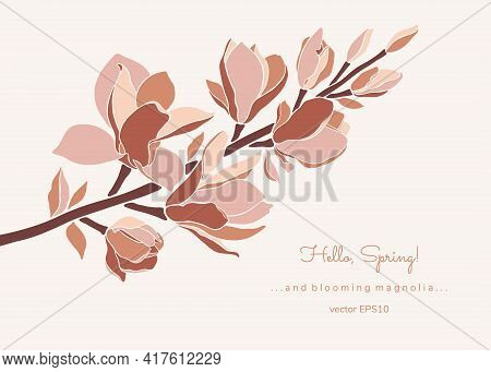 Magnolia Branch With Blossoming Flower Buds, Modern Minimalist Art. Style Floral Collage In Pastel C