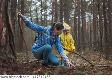 Mom And Child Walking In The Forest After The Rain In Raincoats With Wooden Sticks In Hands