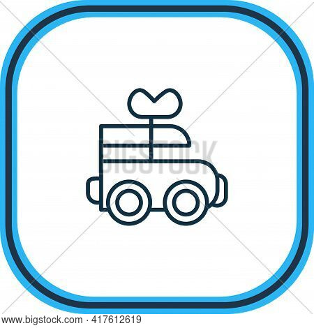 Illustration Of Clockwork Car Icon Line. Beautiful Child Element Also Can Be Used As Mechanical Toy