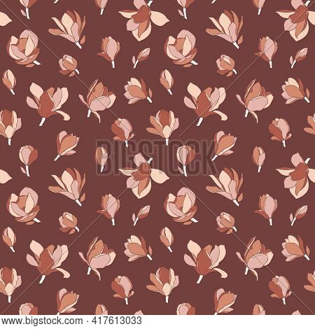 Magnolia Flowers, Seamless Pattern. Modern Minimalist Style, Blooming Buds On A Brown Background. Fl