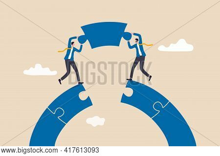 Business Teamwork And Partnership Concept, Businessmen Working Team Building Connect Jigsaw Puzzle B