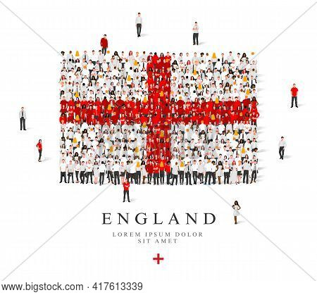A Large Group Of People Are Standing In White And Red Robes, Symbolizing The Flag Of England. Vector