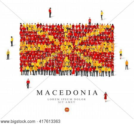 A Large Group Of People Are Standing In Yellow And Red Robes, Symbolizing The Flag Of Macedonia. Vec