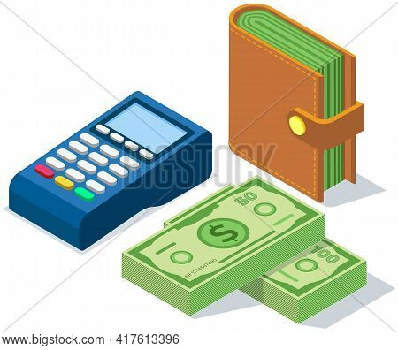 Stack Of Dollar Bills And Wallet With Money. Pos Terminal, Device For Contactless Payment