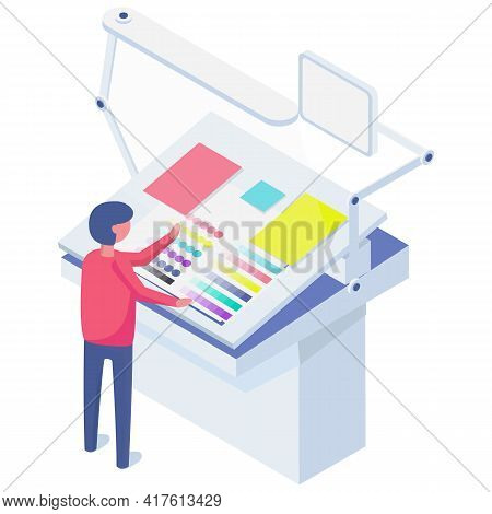 House Worker Selects Colors And Shades For Printing. Character Working In Typography At Print