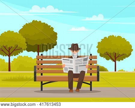 Elderly Man Pensioner Sitting On Bench In Park Reading Newspaper And Enjoying Leisure In Retirement