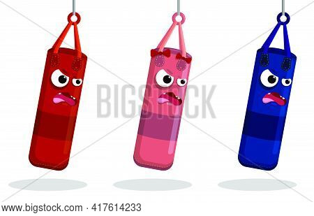 Angry Punching Bags In Cartoon Style For Sports Training. Training Boxers In Gym. Women And Men Boxi