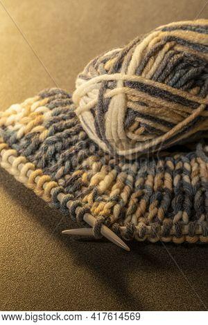 Photo Of Colored Balls From Knitting Yarn. Knitting Supplies Close-up. Knitting-women\\\'s Needlewor