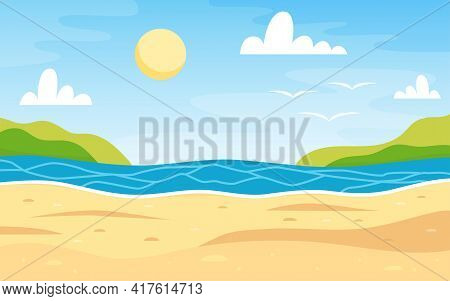 Beach Landscape. Sea Background. Colorful Summer Design. Blank For Postcards And Banners. Vector Ill