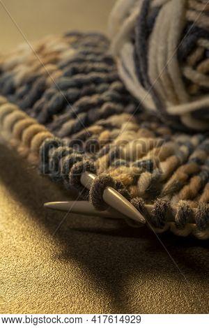 Photo Of Colored Balls From Knitting Yarn. Knitting Supplies Close-up. Knitting-women's Needlework.