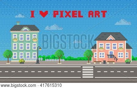 Houses And Green Trees Along Urban Paved Road Pixel Art Scene. Apartment Pixelated City Building