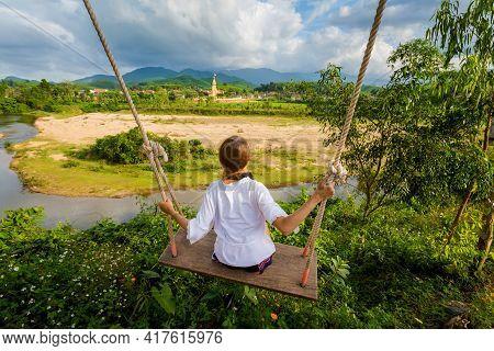 Tourist On Swing Phong Nha Vietnam
