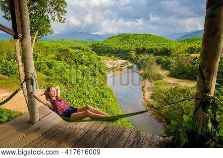 Tourist On Hammock Phong Nha Vietnam