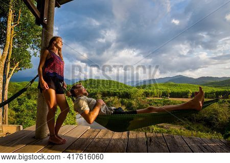 Couple On Hammock Phong Nha Vietnam