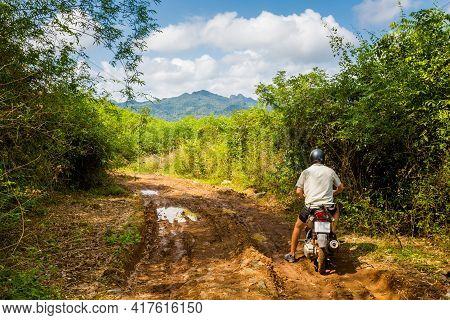 Man On Motorbike Phong Nha Vietnam