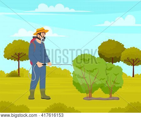 Spraying Pesticide And Insecticide. Processing Of Trees. Chemical Treatment Of Garden Plants