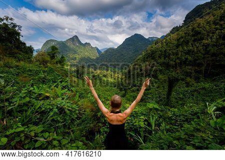 Woman On Viewpoint Phong Nha Vietnam