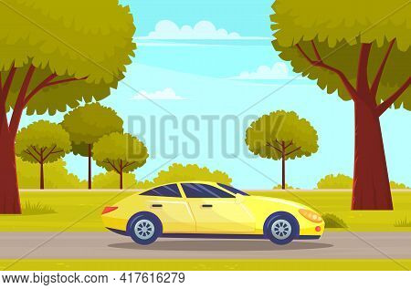 Yellow Car Drive On Road In Countryside Against Green Forest With Large Trees. Car Tourism, Journey
