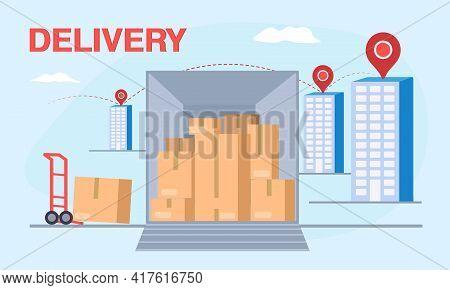 Delivery Transport. Delivery Vector Transport Truck, Van. Vector Illustration Eps10