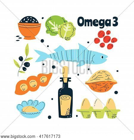 Omega 3 Main Food Sources Fish, Nuts, Cabbage, Red Caviar. Vector Illustration In A Hand-drawn Style
