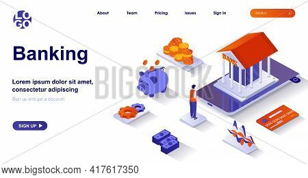 Banking Isometric Landing Page. Bank Financial Services Isometry Concept. Accounting, Transactions,