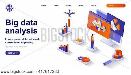Big Data Analysis Isometric Landing Page. Analyst Analyzes Statistics Isometry Concept. Business Dev
