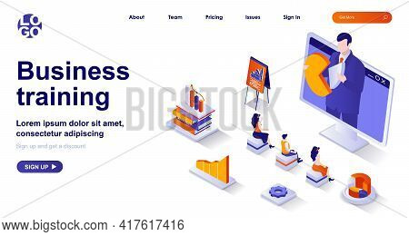 Business Training Isometric Landing Page. Professional Development Isometry Concept. Colleagues On C