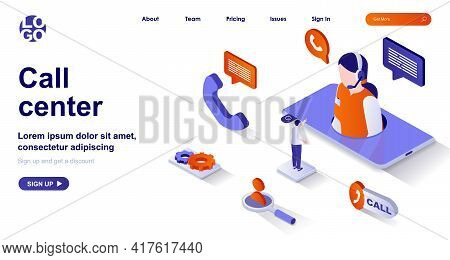 Call Center Isometric Landing Page. Customer Support Isometry Concept. Hotline Operator In Headset C