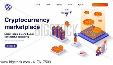 Cryptocurrency Marketplace Isometric Landing Page. Mining Electronic Money Isometry Concept. Virtual