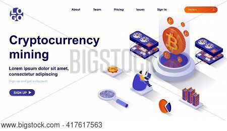 Cryptocurrency Mining Isometric Landing Page. Miner Makes Electronic Money Isometry Concept. Bitcoin