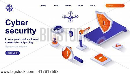Cyber Security Isometric Landing Page. Protect Personal Data, Safe Internet Isometry Concept. Access