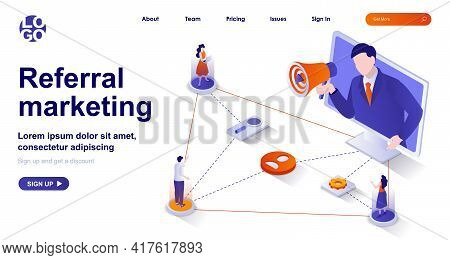 Referral Marketing Isometric Landing Page. Attracting New Customers Via Word Of Mouth Advertising Is
