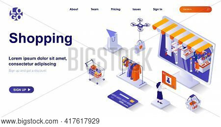 Shopping Isometric Landing Page. Buyer Buys Retail Or Online Isometry Concept. Customer Choosing Clo