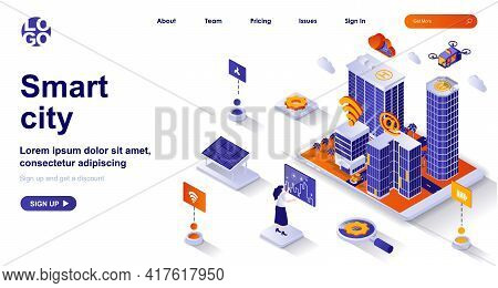 Smart City Isometric Landing Page. Futuristic Cityscape With Modern Tech Isometry Concept. Green Ene