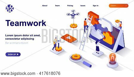 Teamwork Isometric Landing Page. Colleagues Cooperation At Office Isometry Concept. Team Communicati