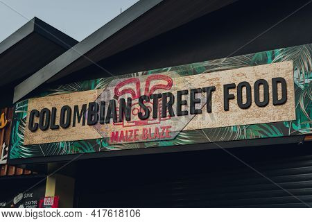 London, Uk - August 12, 2020: Sign On The Maize Blaze Colombian Street Food Stall In Camden Market.