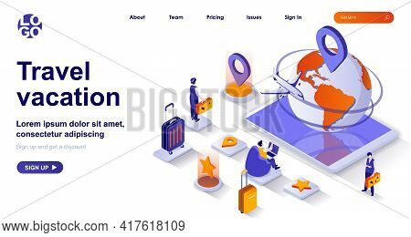 Travel Vacation Isometric Landing Page. International Tourism Isometry Concept. Airport, Passengers