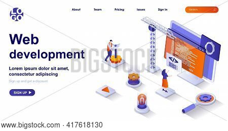 Web Development Isometric Landing Page. Development Of Interface Site Code Isometry Concept. Develop