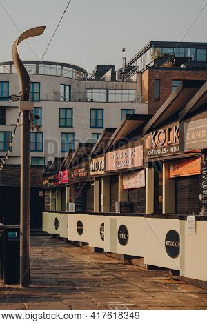 London, Uk - August 12, 2020: Row Of Closed Food Market Stalls In Camden Market. Started With 16 Sta