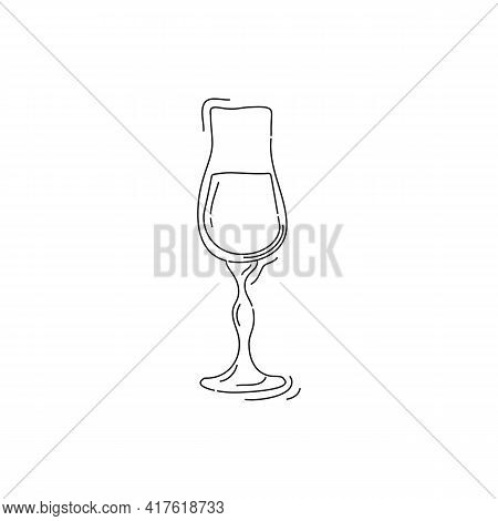 Liquor Shot Glass On White Background. Cartoon Sketch Graphic Design. Doodle Style. Black And White