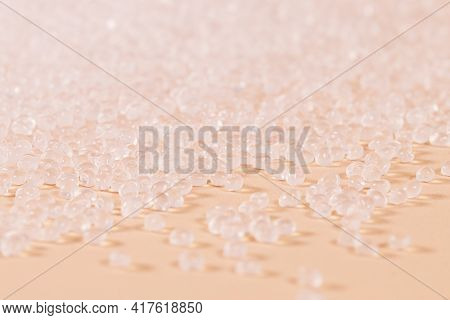 Set Of Polypropylene Raw Material In White Balls.